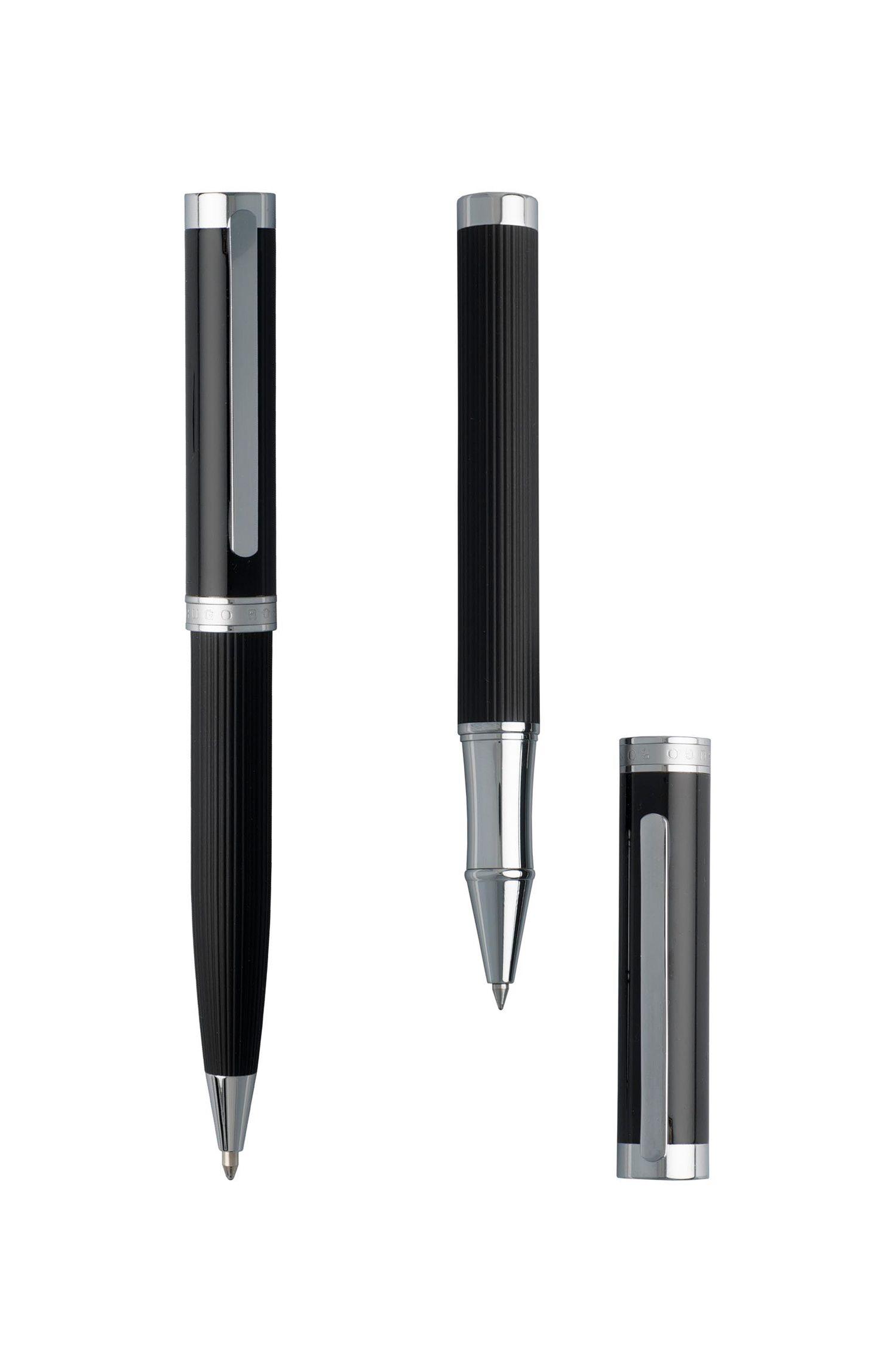 Pennenset met zwart gelakte greep met gestructureerde streep
