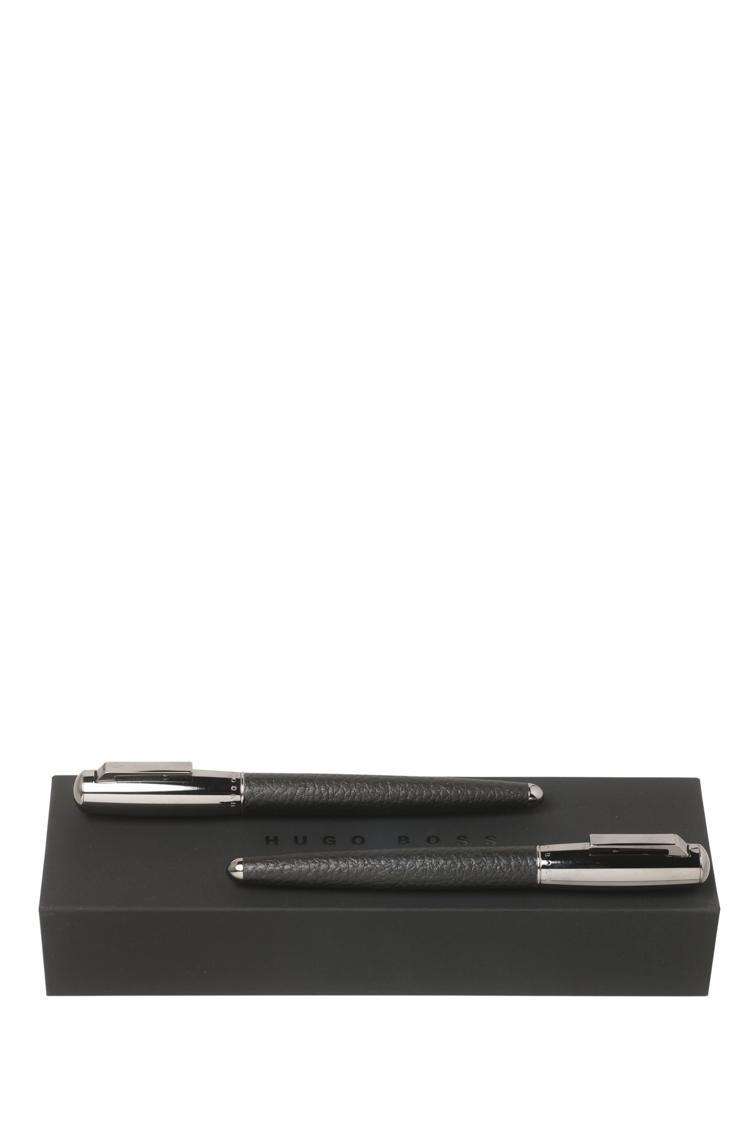 Ensemble composé d'un stylo-plume et d'un roller à encre en laiton : « Pure Leather Black »