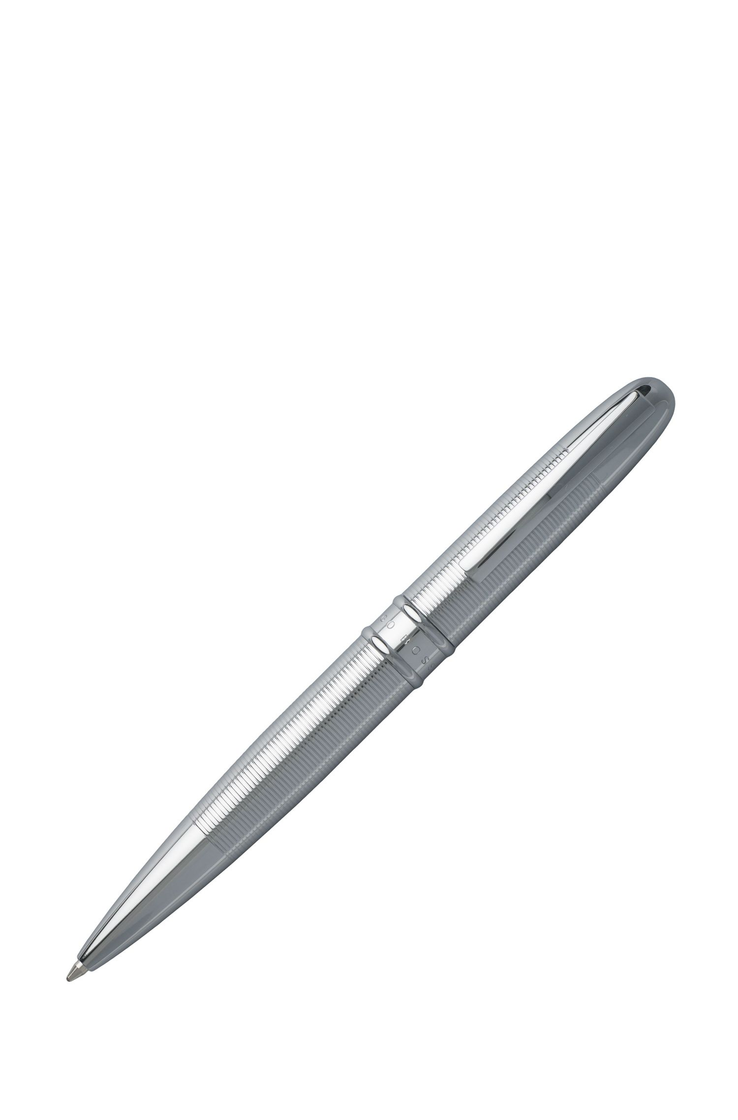 Ballpoint pen in textured chrome-plated brass