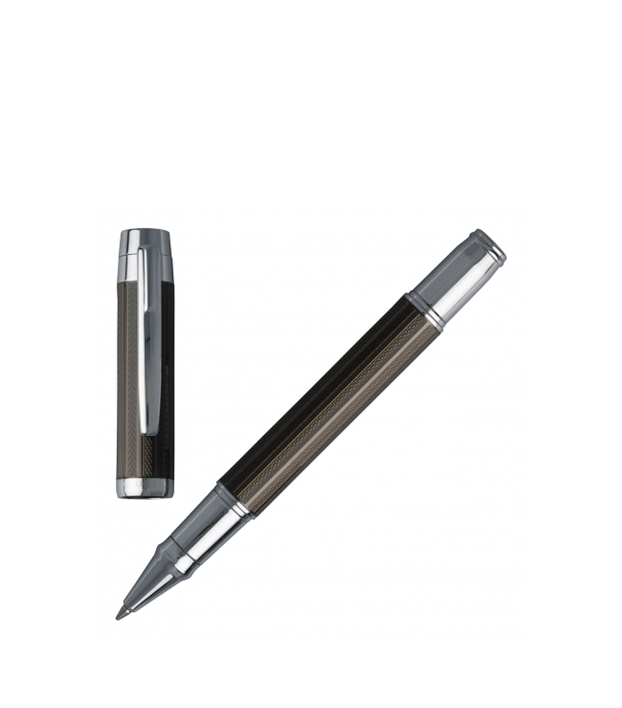 Rollerball pen with black technical crafted surface, Khaki