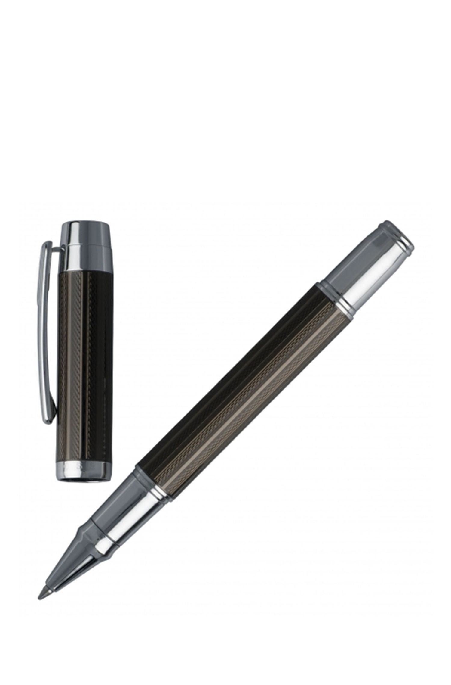 Rollerball pen with black technical crafted surface
