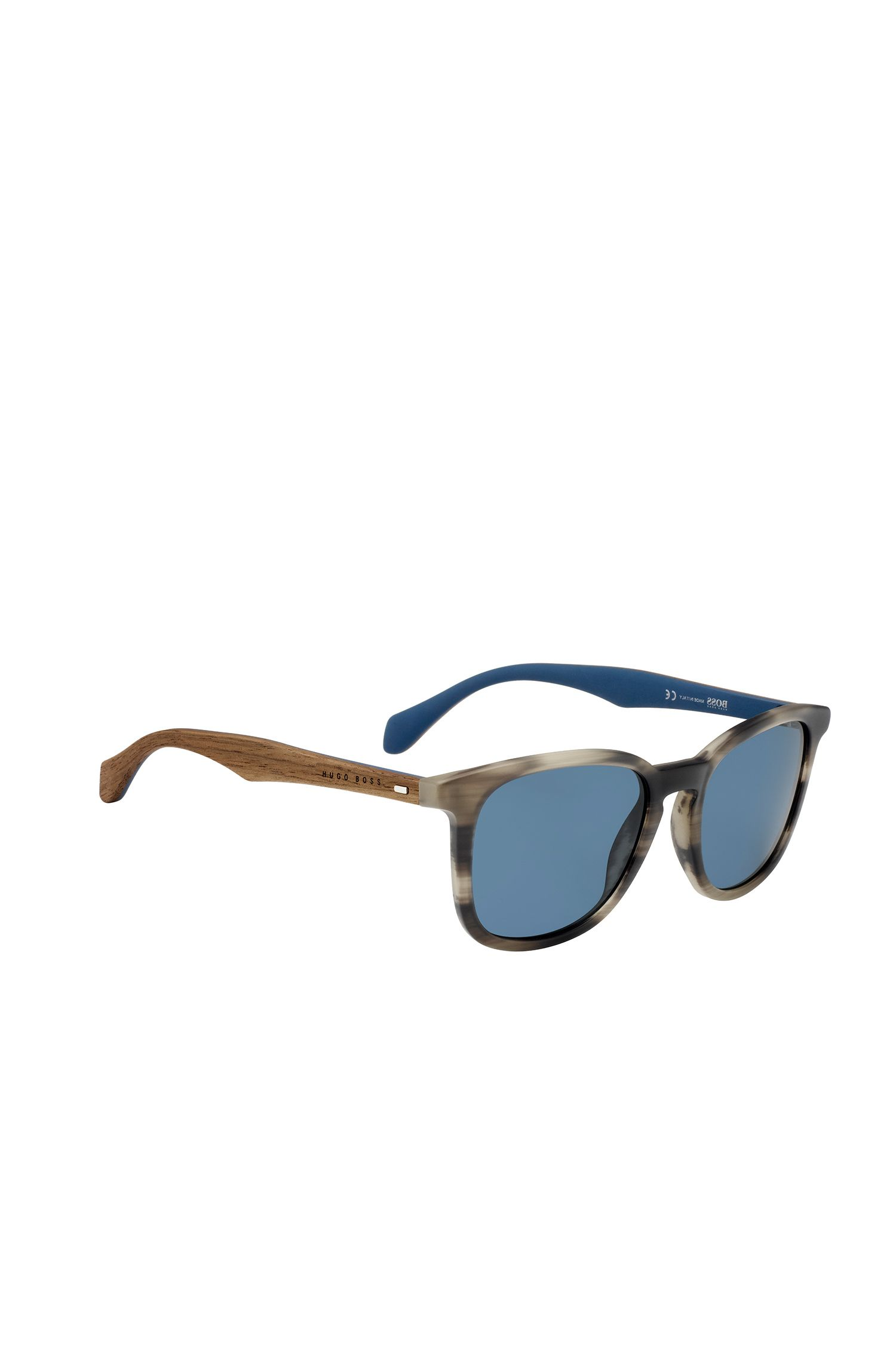 Sunglasses with patterned fully-rimmed frames and wooden temples: 'BOSS 0843/S'