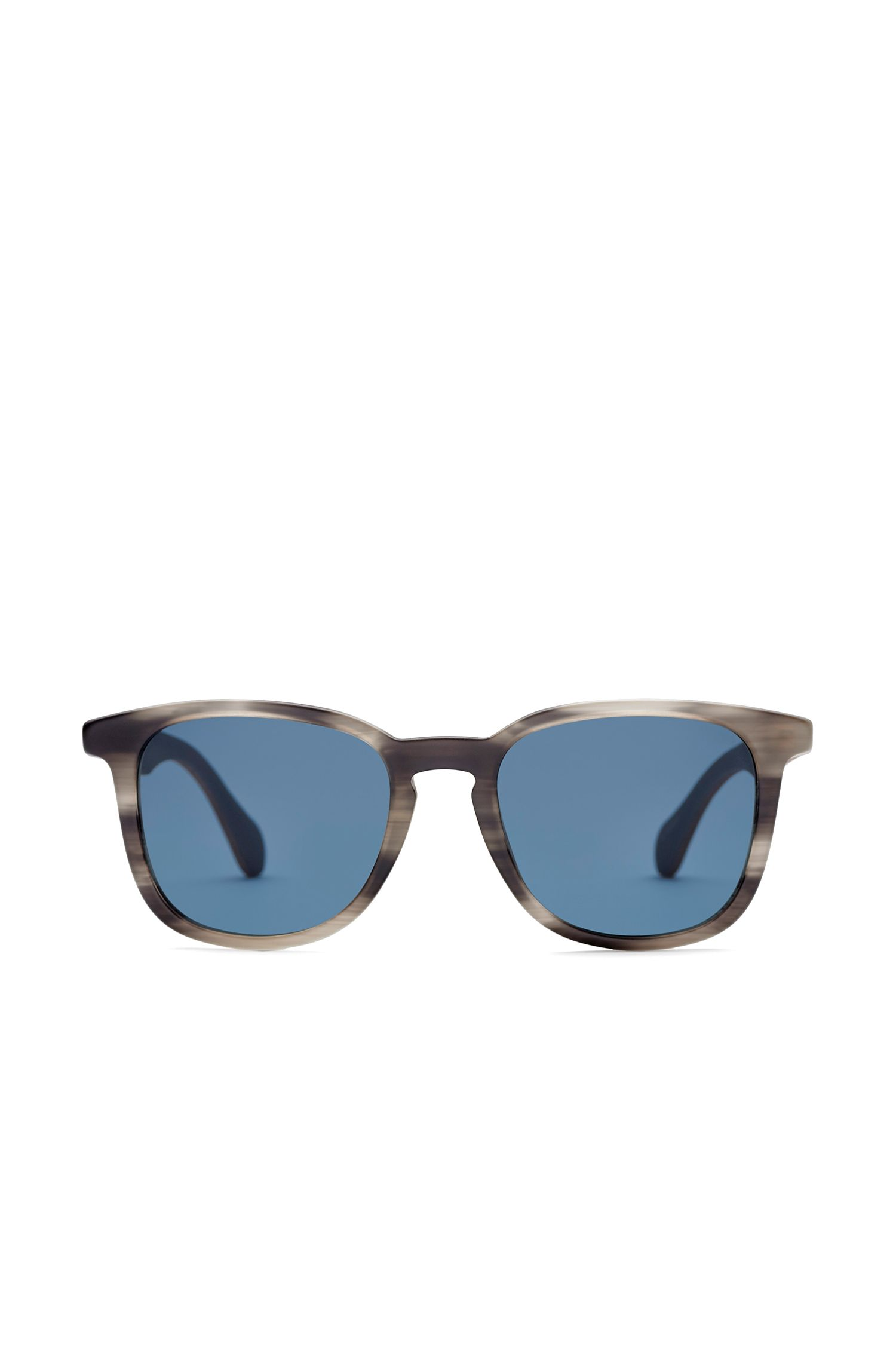 Sunglasses with patterned fully-rimmed frames and wooden temples: 'BOSS 0843/S', Patterned