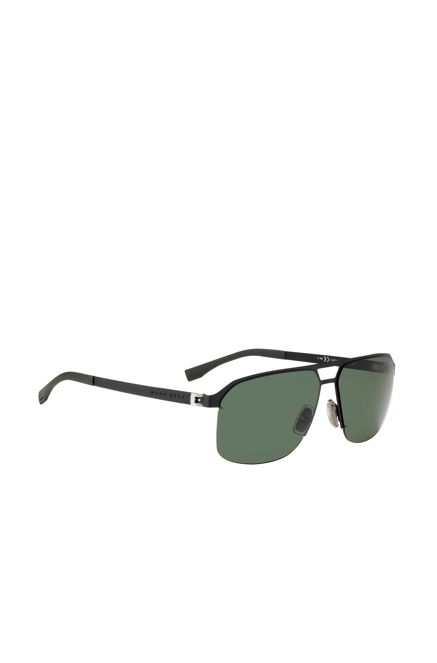Metal navigator sunglasses with grey/green lenses: 'BOSS 0839/S'