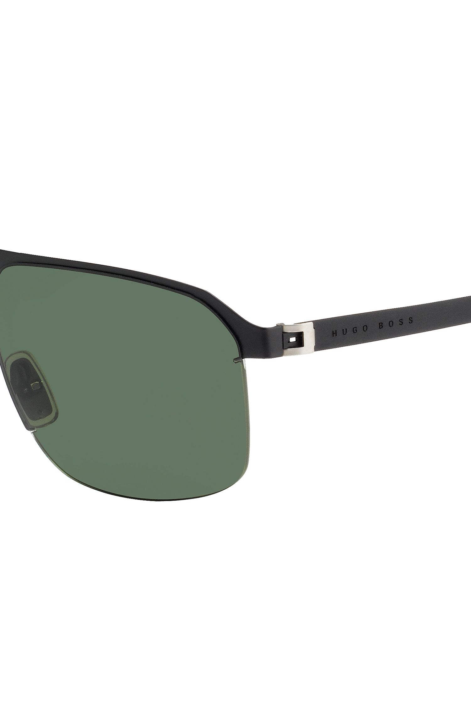 Metal navigator sunglasses with grey/green lenses: 'BOSS 0839/S', Black