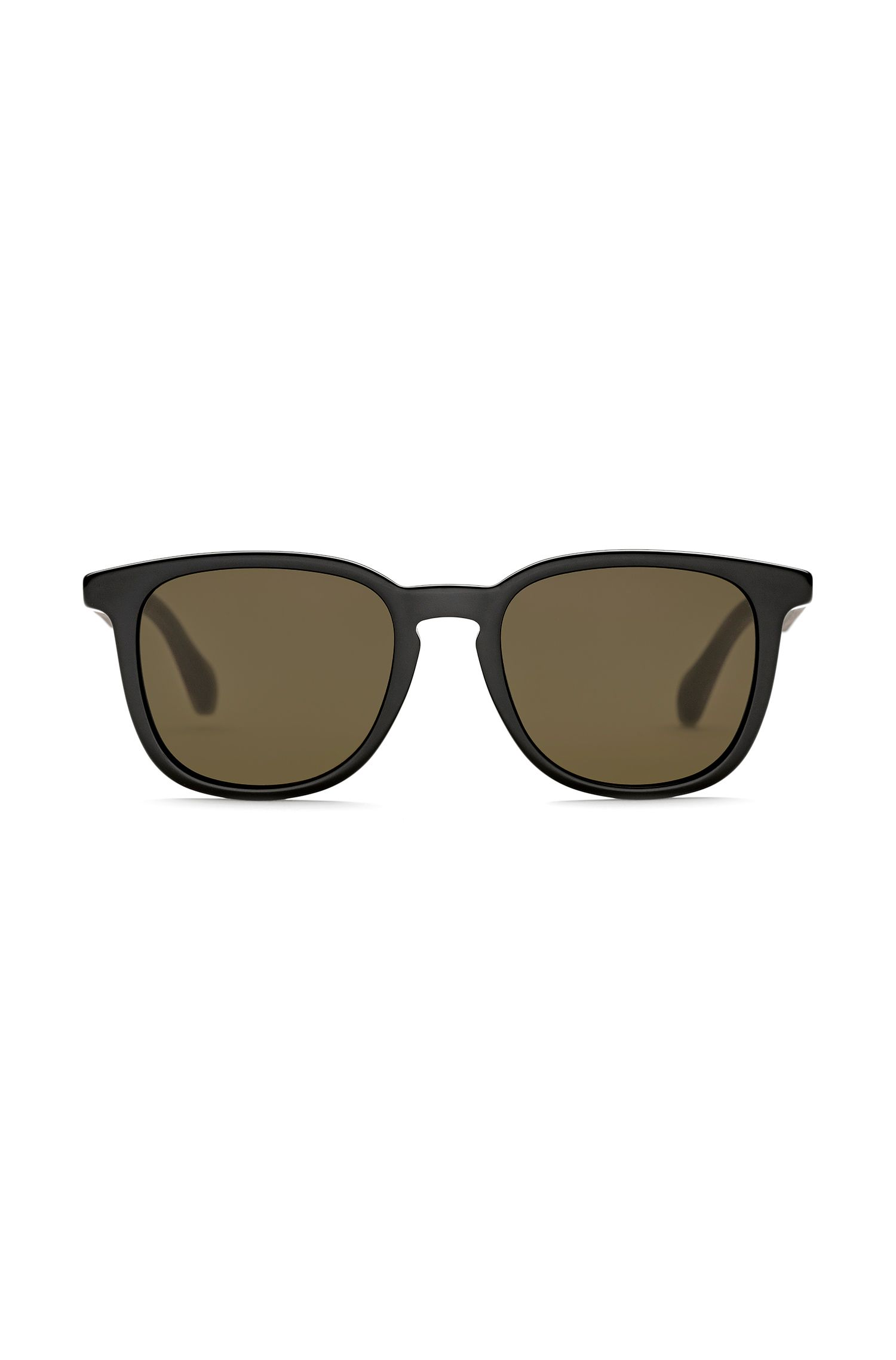 Acetate sunglasses with wooden temples, Brown