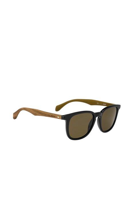 9ff18e28b840d2 BOSS - Zonnebril van acetaat met hout aan de slaap