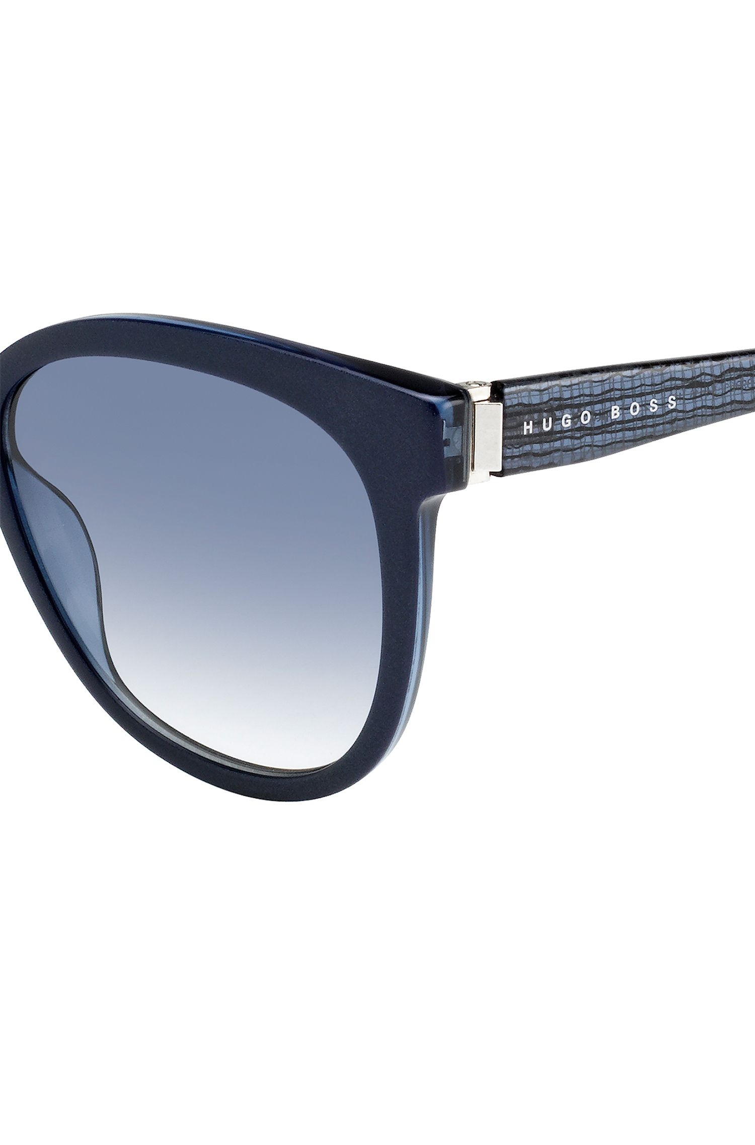 Sonnenbrille mit Vollrandfassung und transparenten Bügeln: 'BOSS 0849/S', Blau