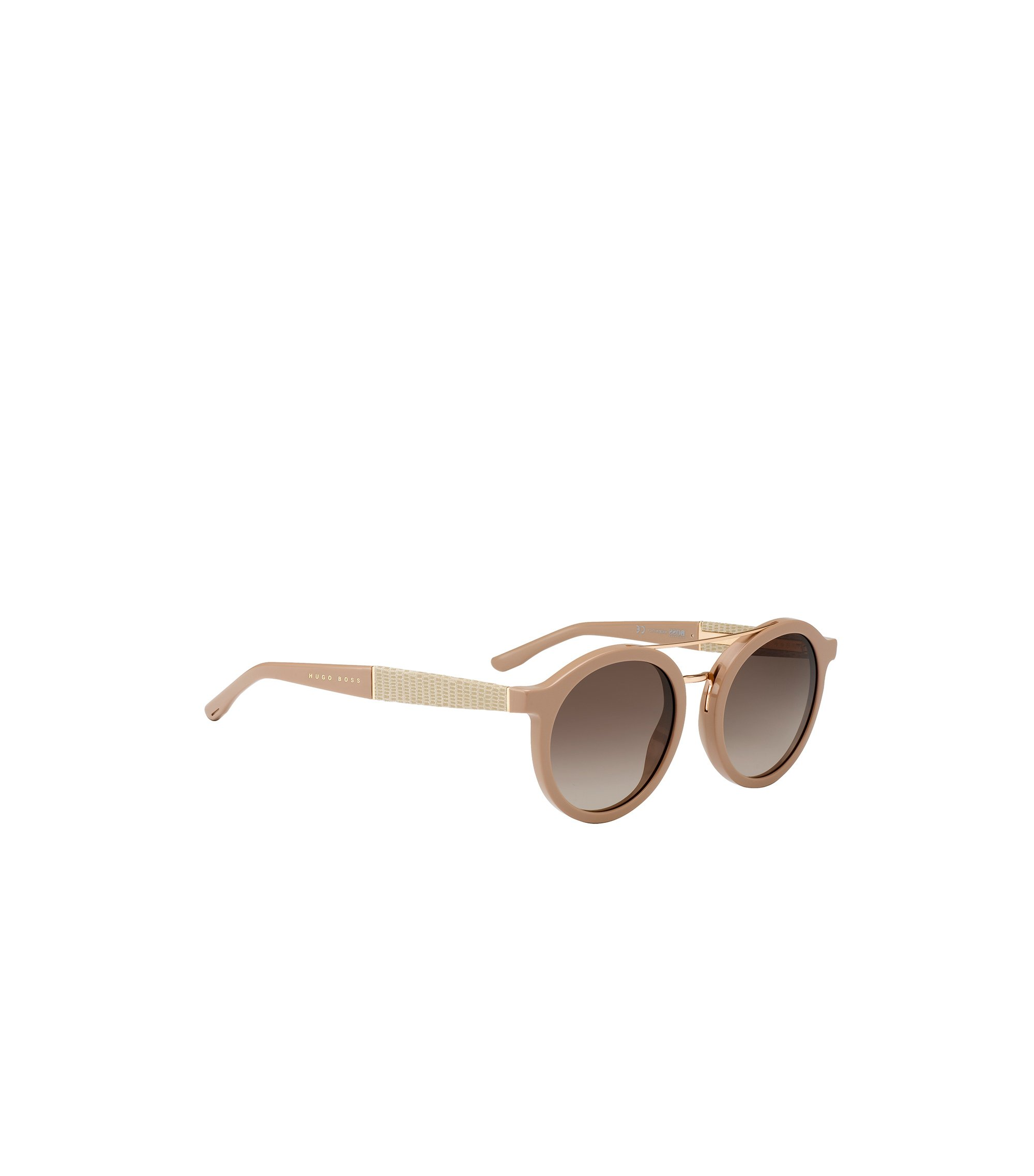 Round sunglasses with embossed leather temples, Beige