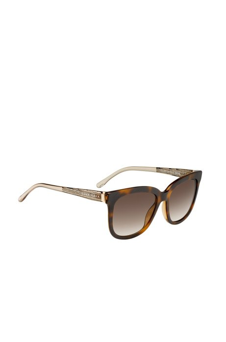 Sunglasses with fully-rimmed frames and transparent temples: 'BOSS 0850/S', Patterned