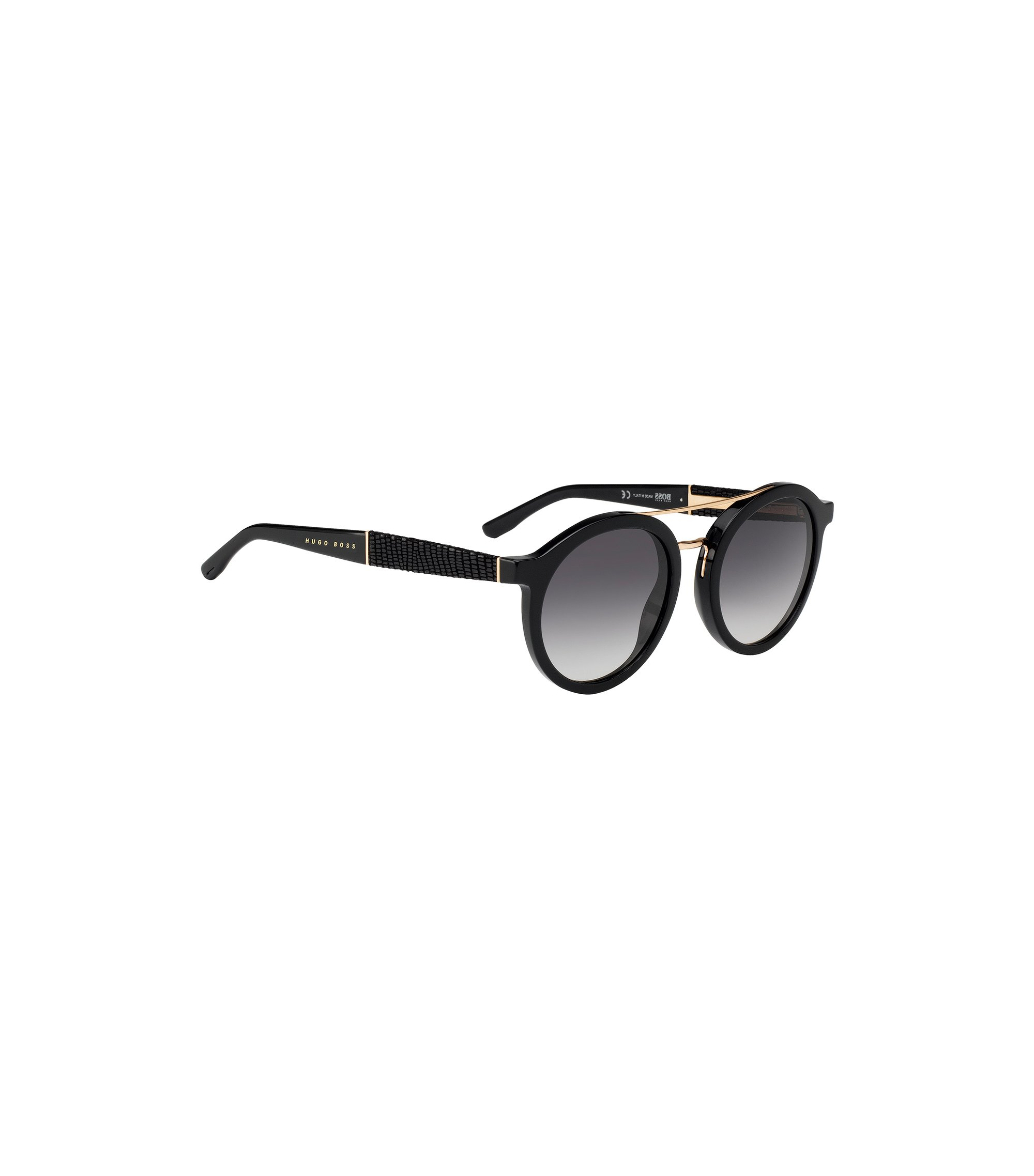 Round sunglasses with embossed leather temples, Black