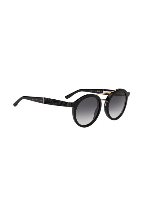 Runde Sonnenbrille aus Acetat mit Lederbezug auf den Bügeln CWImtqQbhc