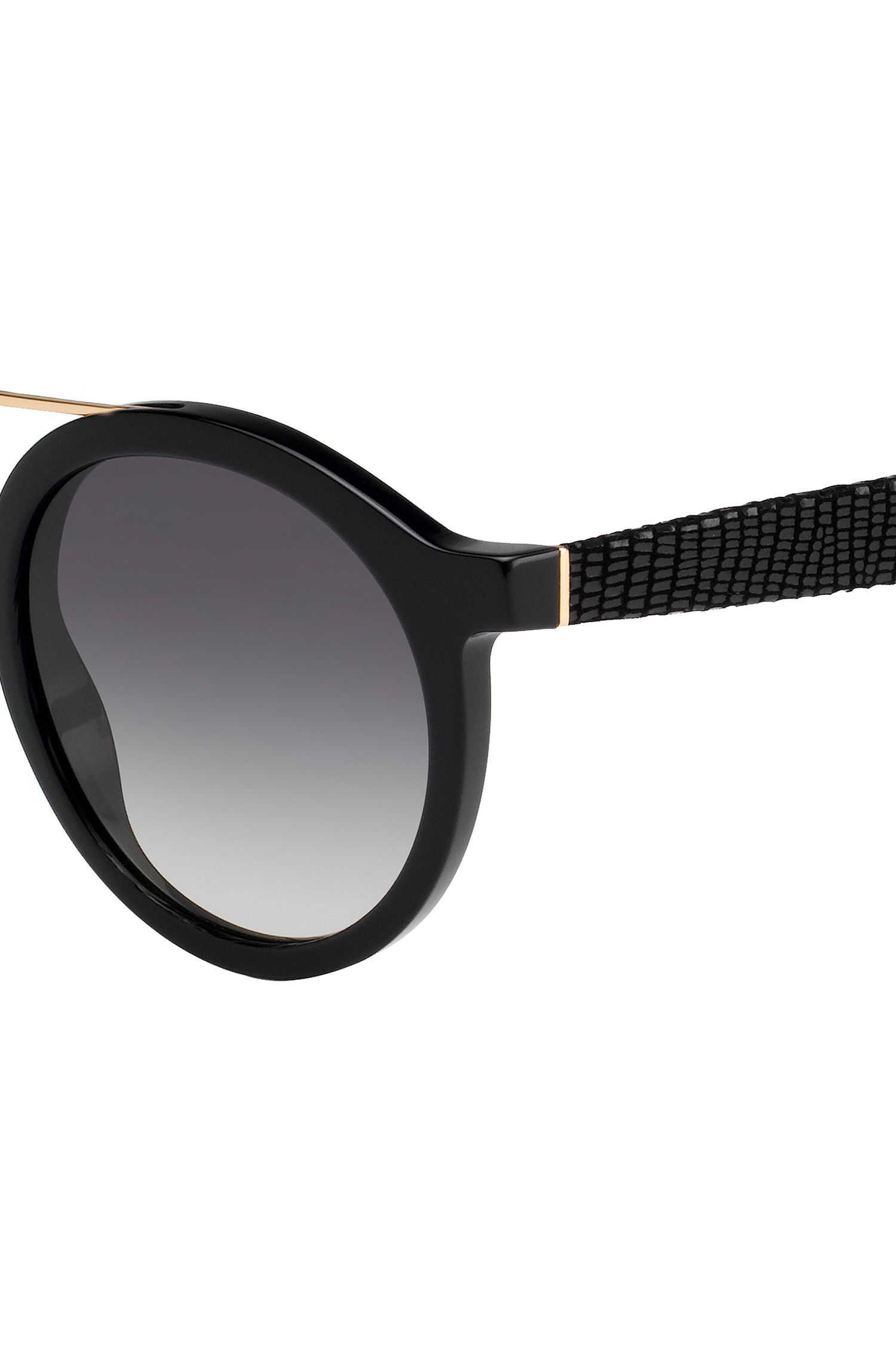 Round sunglasses with embossed leather temples BOSS