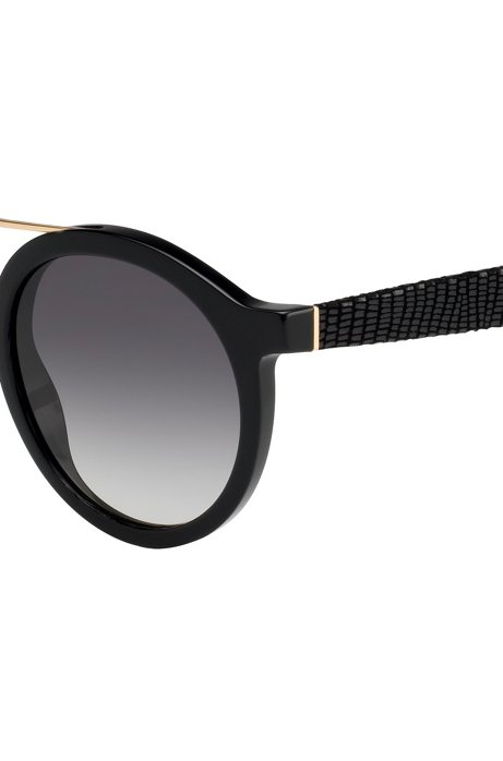 Round sunglasses with embossed leather temples BOSS 3hMKbPzT