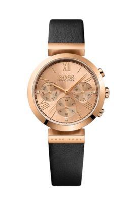 Horloge met rosgoudcoating, drie wijzers en een polsband van relifleer