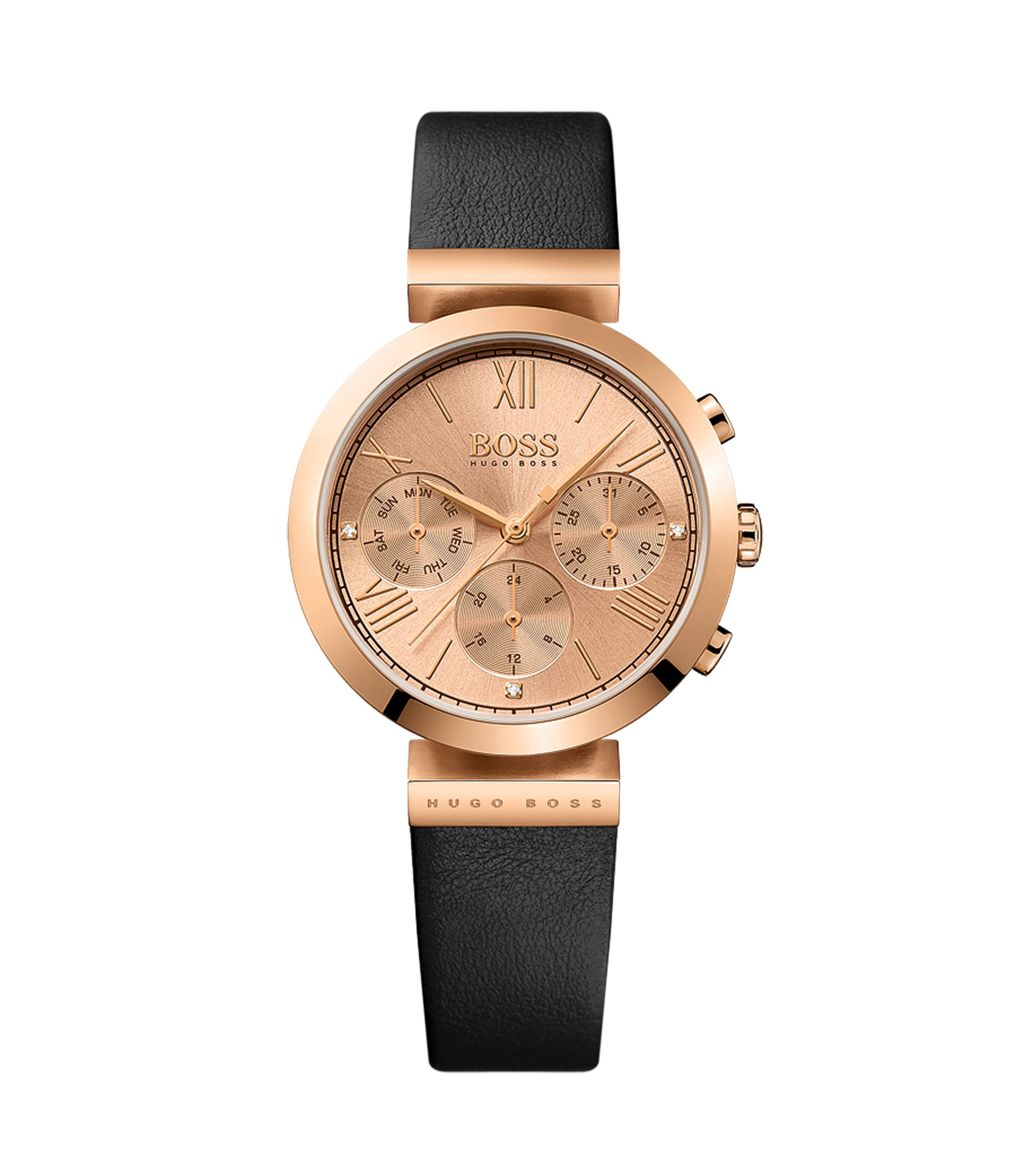 Rose-gold-plated three-hand watch with embossed leather strap, Black