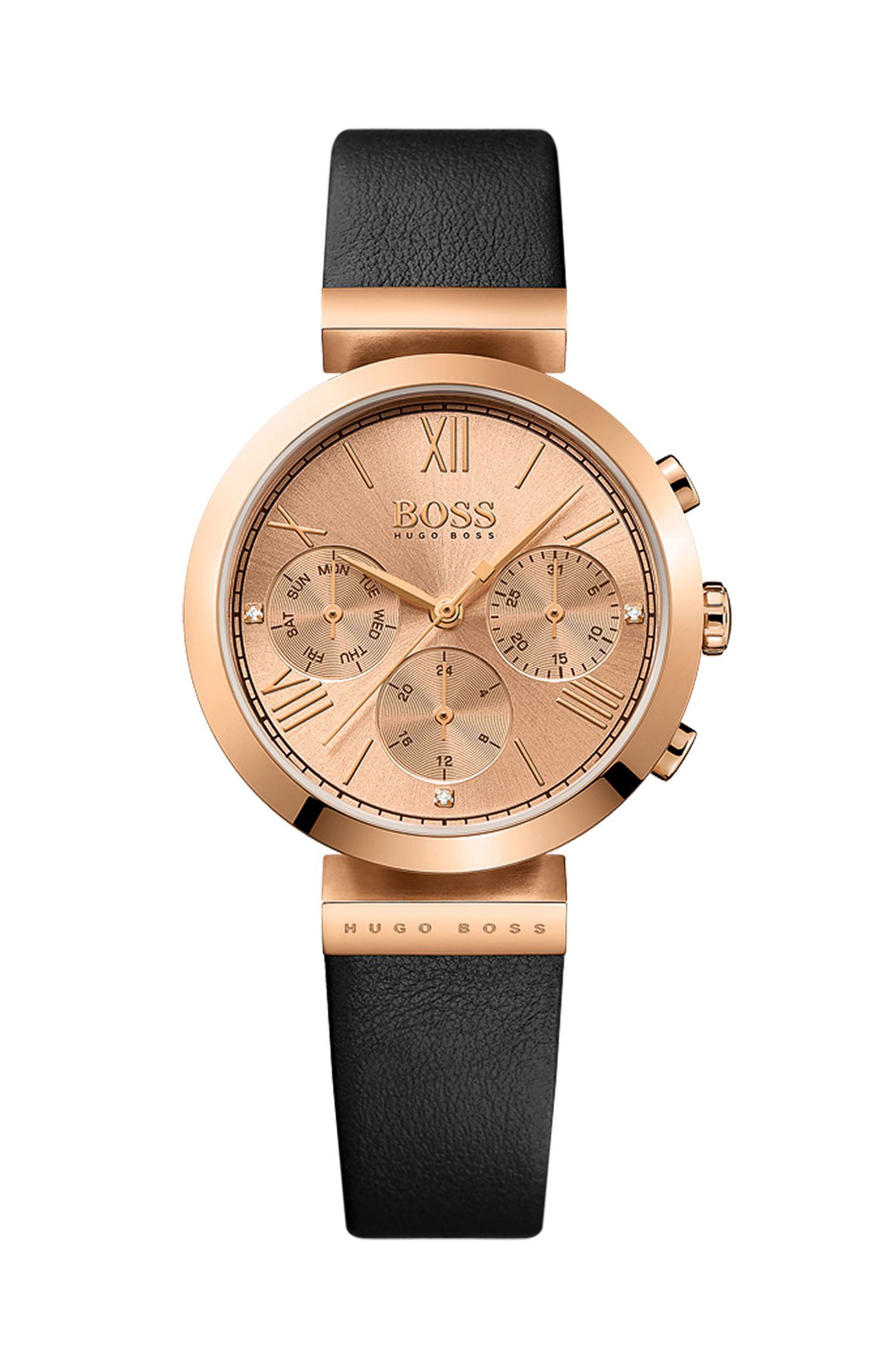 Rose-gold-plated three-hand watch with embossed leather strap