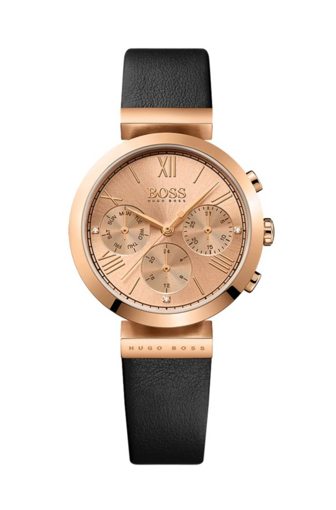 rose gold plated three hand watch with embossed leather strap. Black Bedroom Furniture Sets. Home Design Ideas