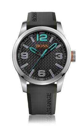 Quarz-Armbanduhr mit Silikonarmband: 'PARIS', Schwarz
