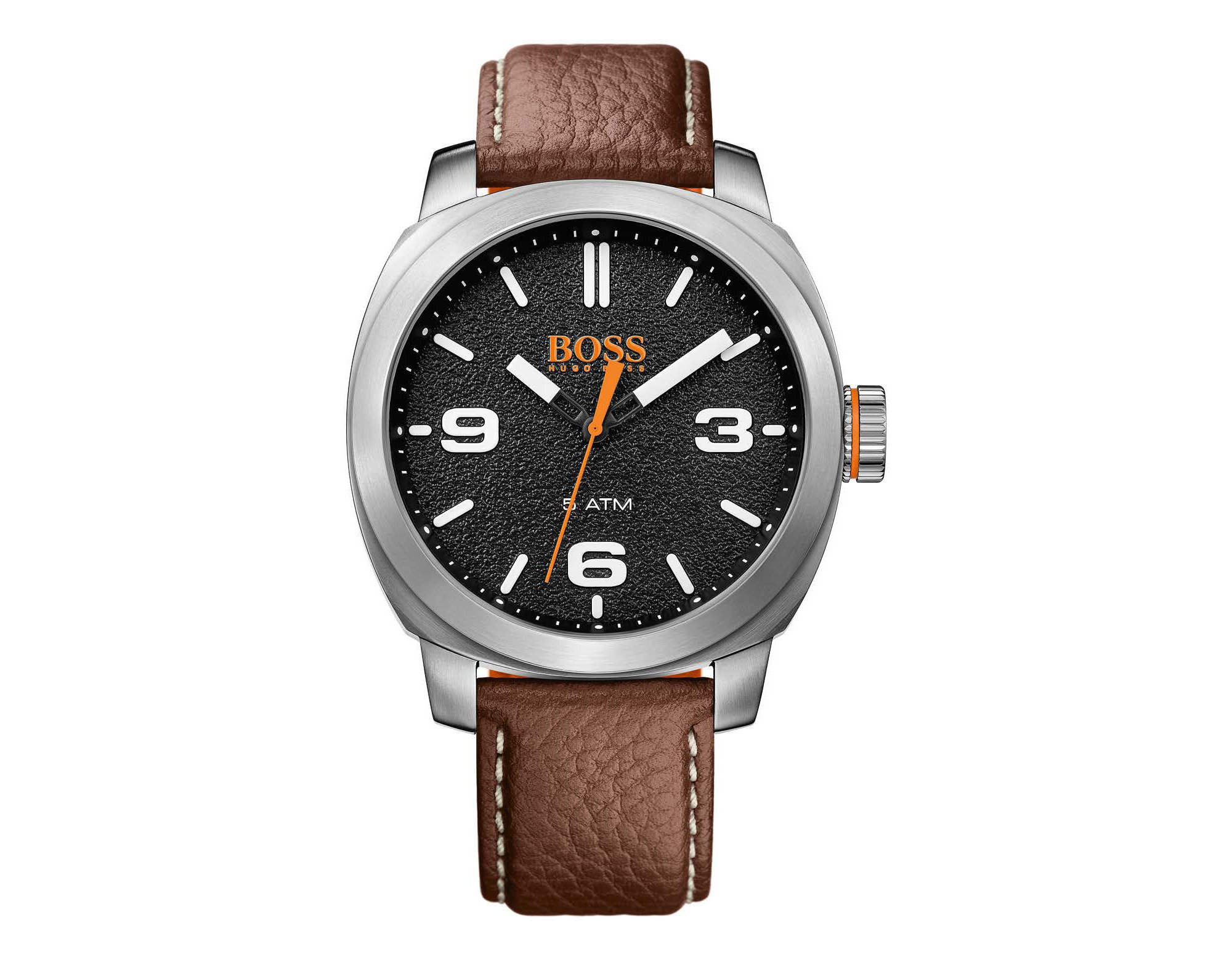 Textured black dial watch with grained leather strap, Brown