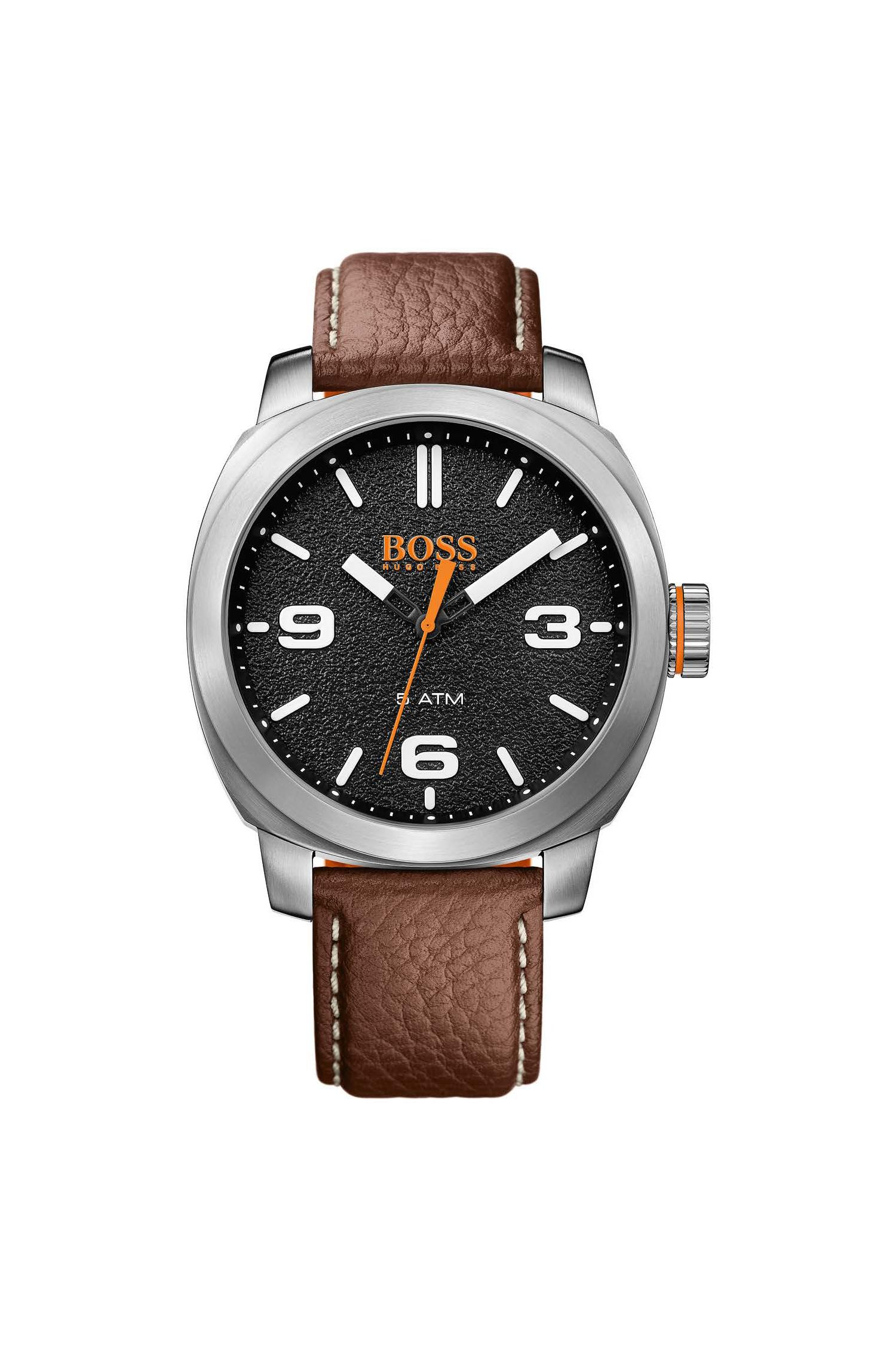 Textured black dial watch with grained leather strap