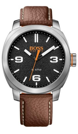 Quarz-Armbanduhr mit Drei-Zeiger-Werk und Lederarmband: 'CAPE TOWN', Braun