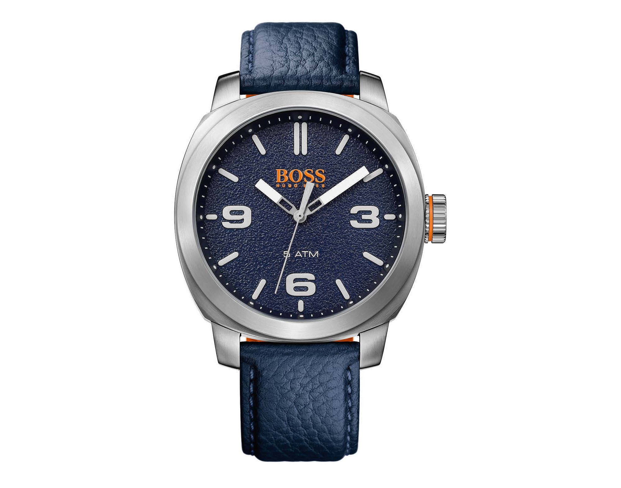 Blue textured-dial watch with blue leather strap, Blue
