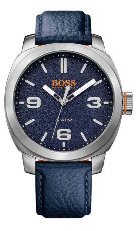 Montre-bracelet avec mouvement à quartz, trois aiguilles et bracelet en cuir: «CAPE TOWN», Bleu