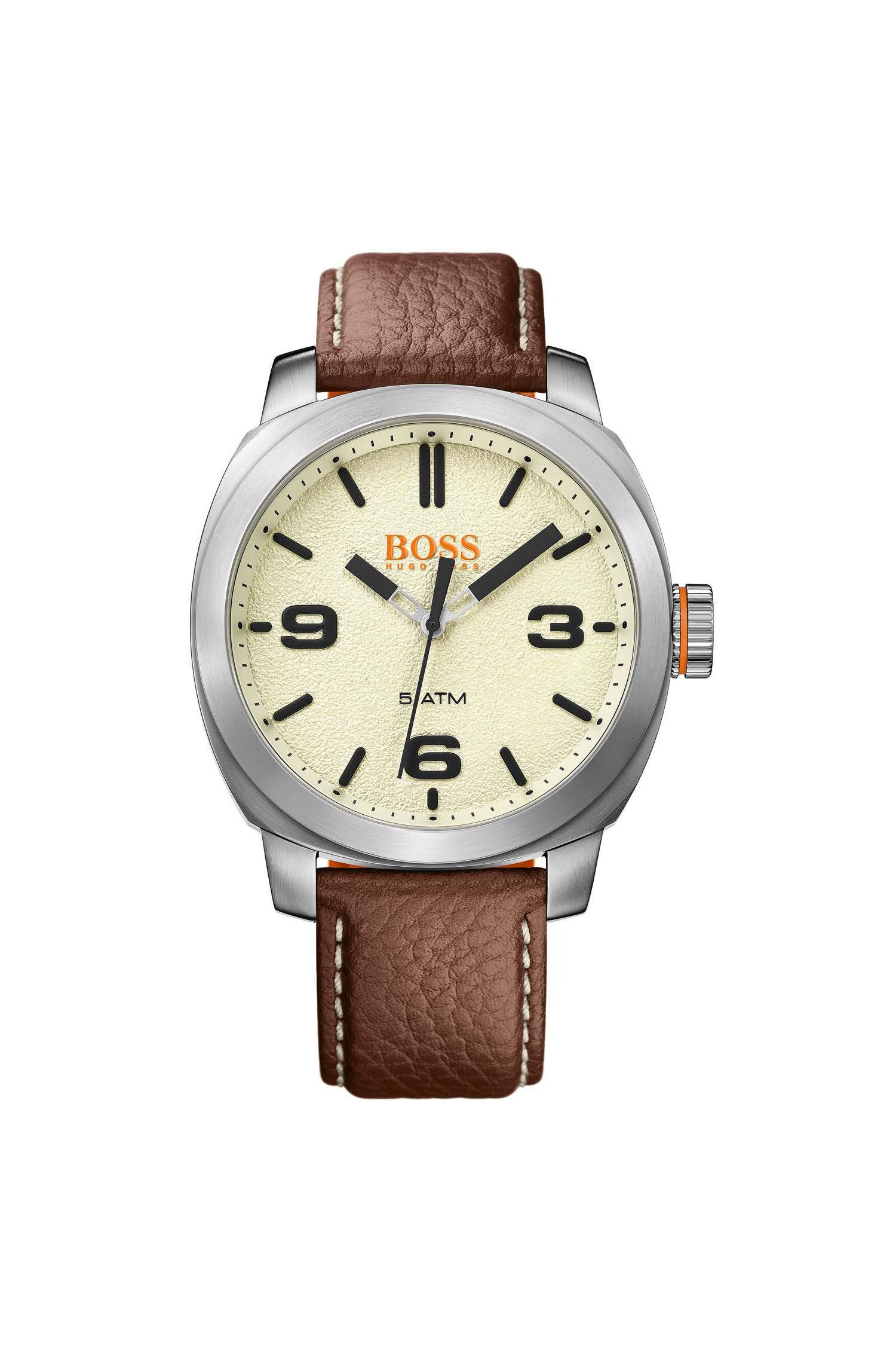 Quartz watch with finely grained leather strap: 'CAPE TOWN'