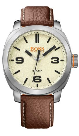 Quartz watch with finely grained leather strap: 'CAPE TOWN', Open White