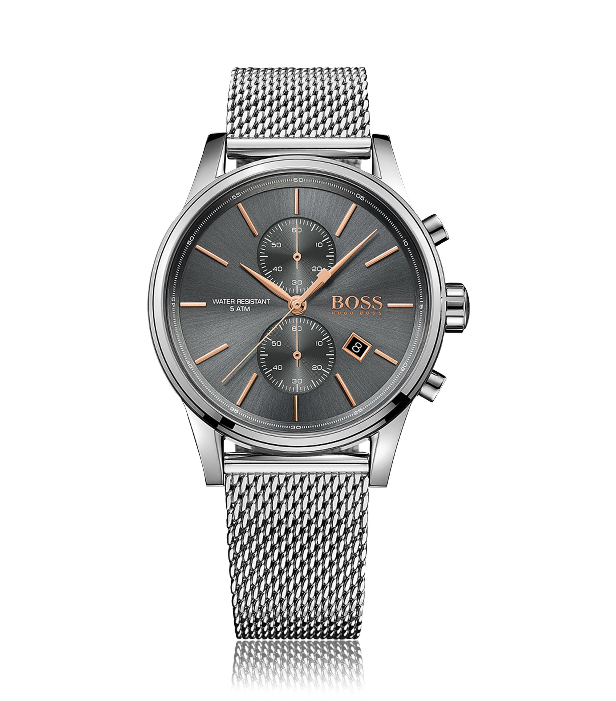 Polished stainless-steel chronograph watch with grey dial and mesh bracelet, Silver