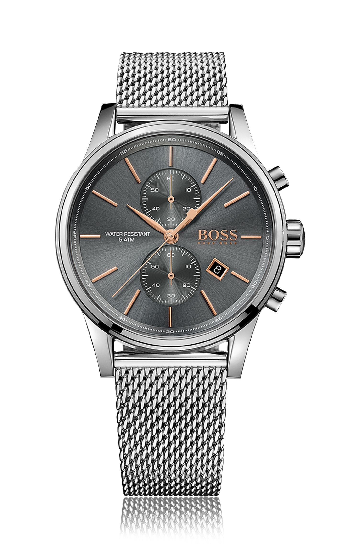 Polished stainless-steel chronograph watch with grey dial and mesh bracelet