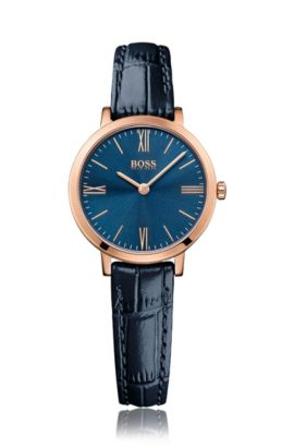 Armbanduhr mit rosé vergoldetem Edelstahlgehäuse: 'Jillian', Blau