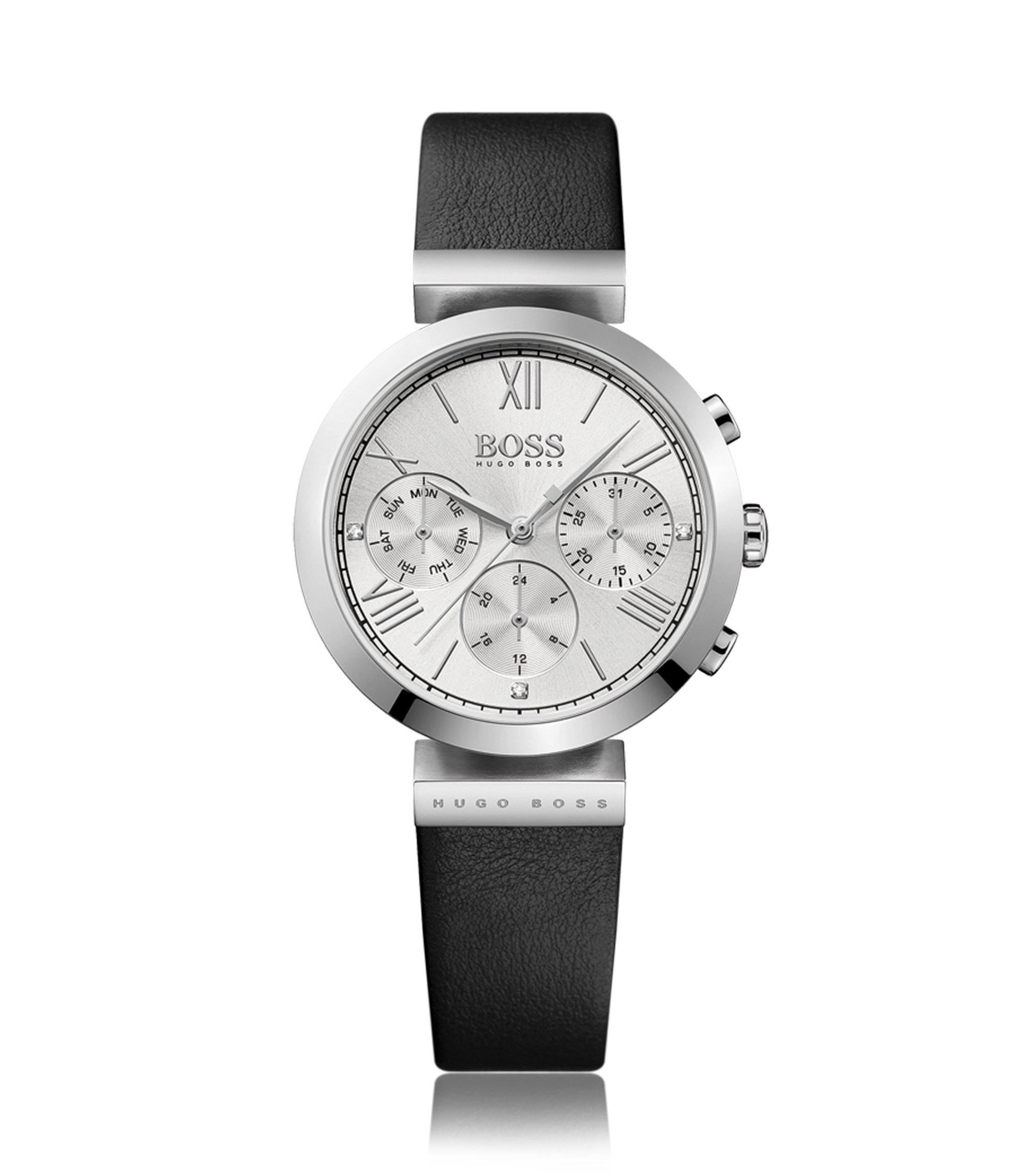 Uhr aus Edelstahl mit Totalisatoren und Armband aus genarbtem Leder, Schwarz