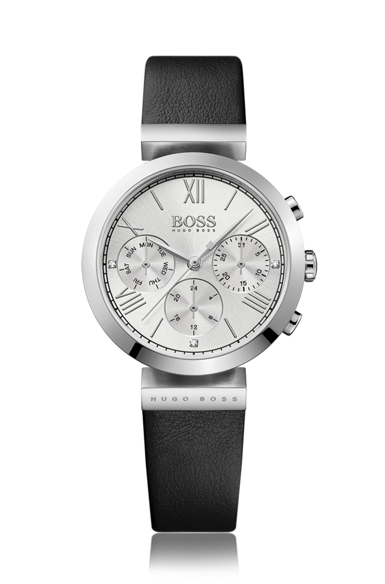 Grey-plated stainless-steel multi-eye watch with grained leather strap