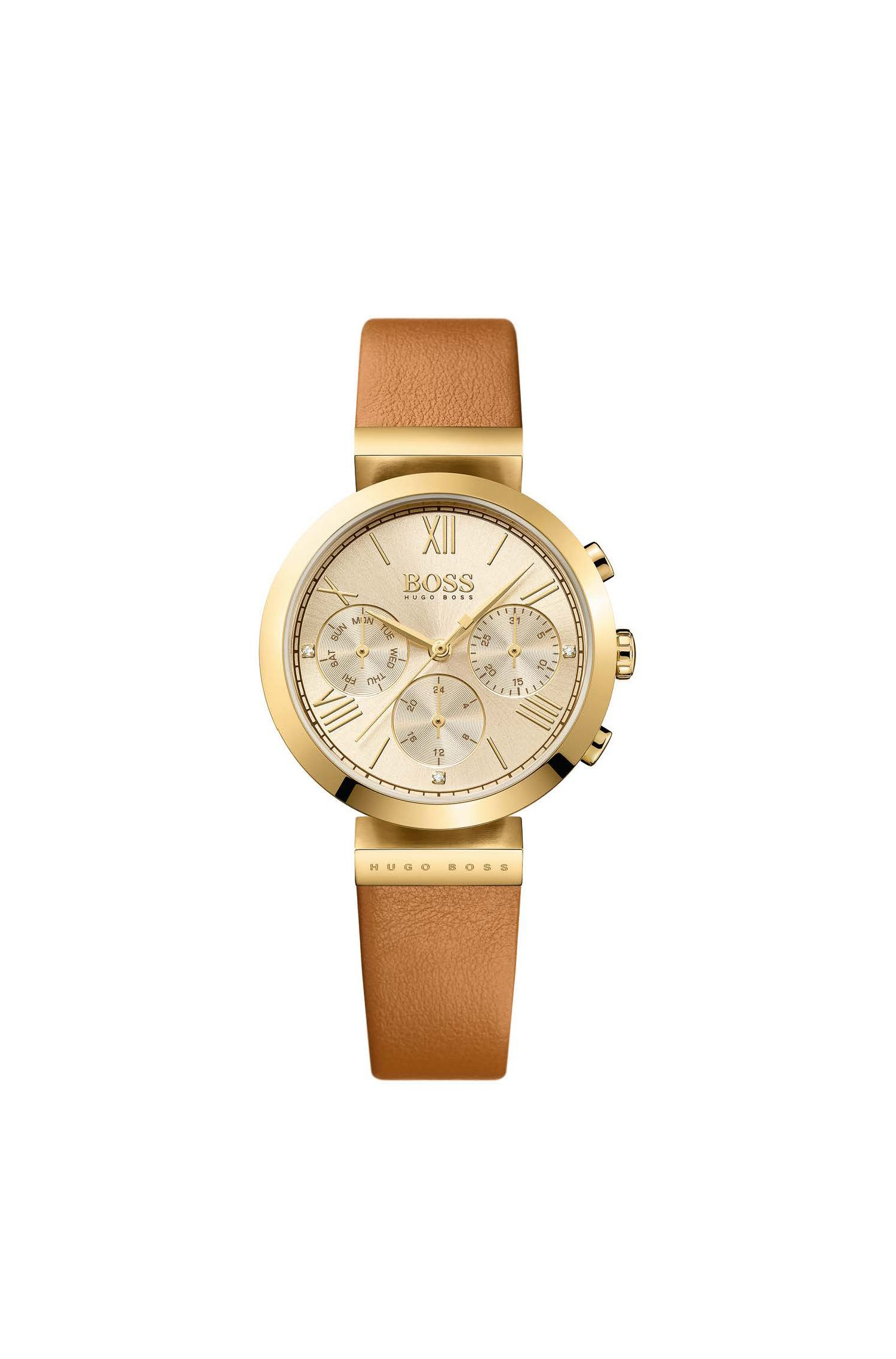 Gold-plated three-hand watch with leather strap
