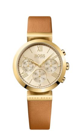 Gold-plated three-hand watch with leather strap, Brown