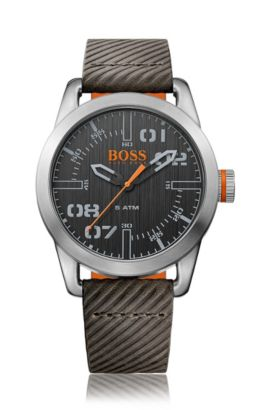 Quartz wristwatch with fluted silicone strap: 'OSLO', Brown