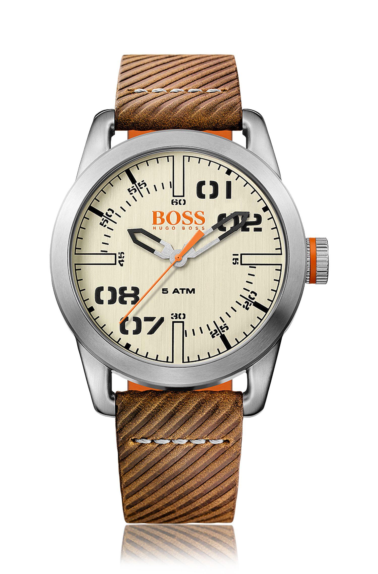 Montre-bracelet avec mouvement à quartz et bracelet en cuir: «OSLO»
