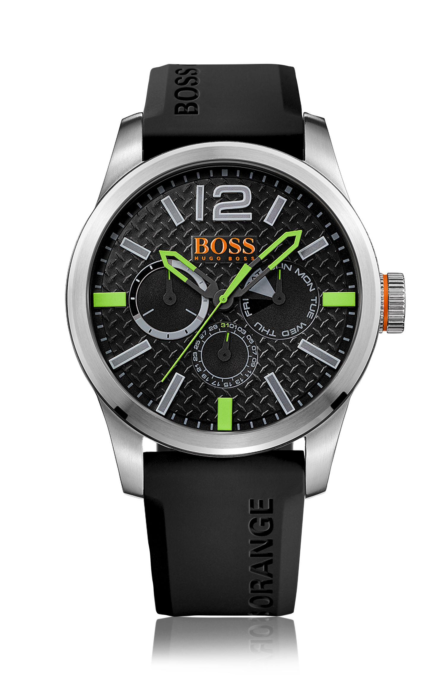 Chronographe à quartz avec bracelet en silicone: «PARIS»