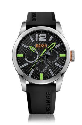 Chronographe à quartz avec bracelet en silicone: «PARIS», Noir