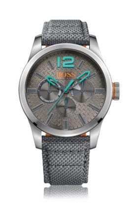 Multieye-Uhr mit Armband aus Kevlar-Gewebe: 'PARIS', Grau