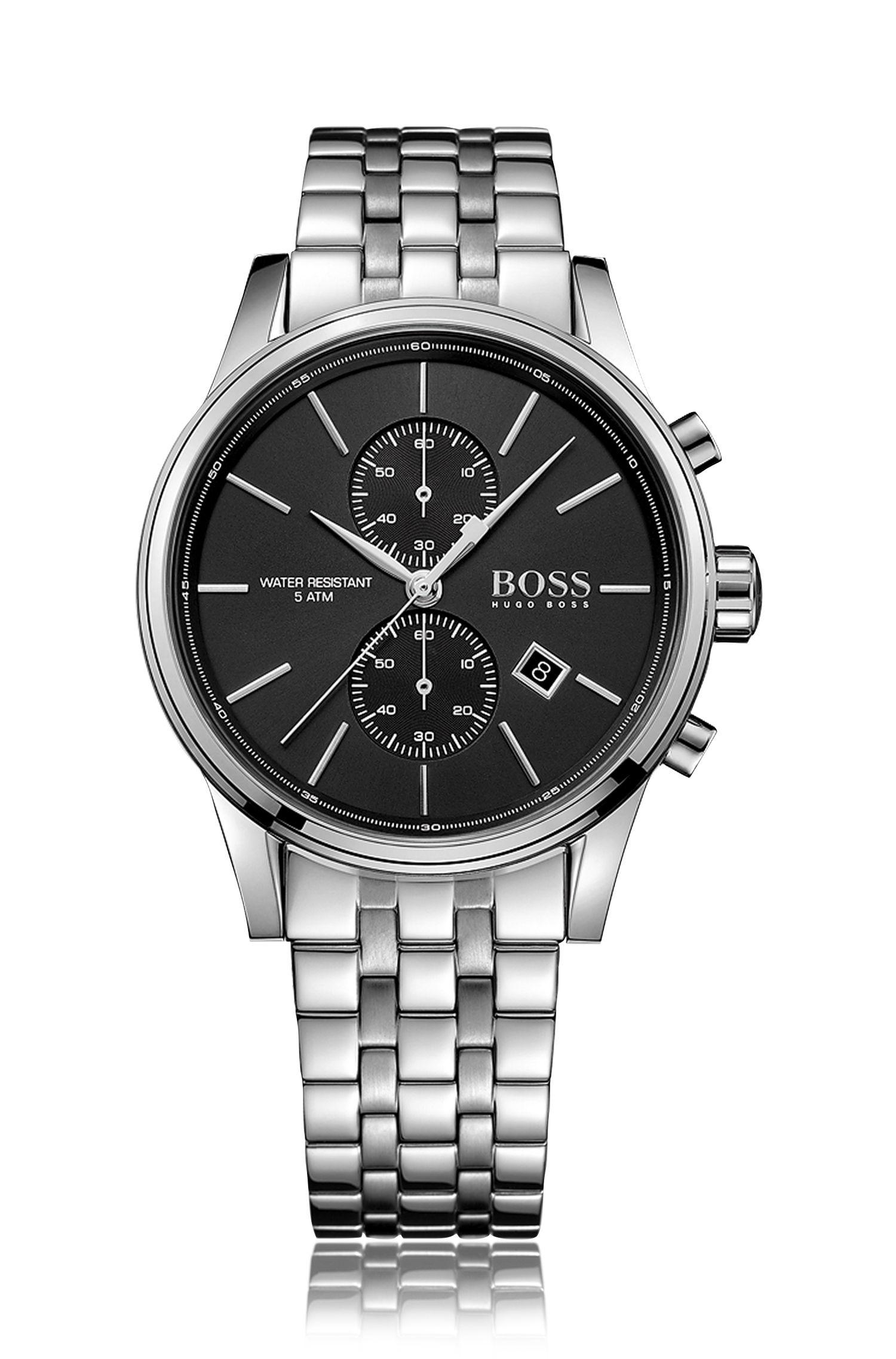 Cronografo in acciaio inossidabile con cinturino a maglie: 'Jet'