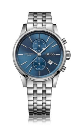 Three-hand watch with link strap, Blue