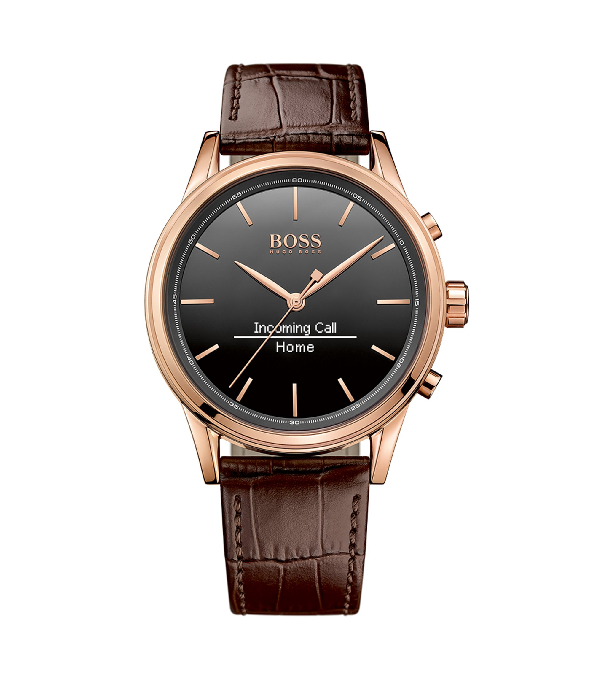 3-hand smartwatch with rose gold-plated stainless steel case: 'Smart Classic', Brown