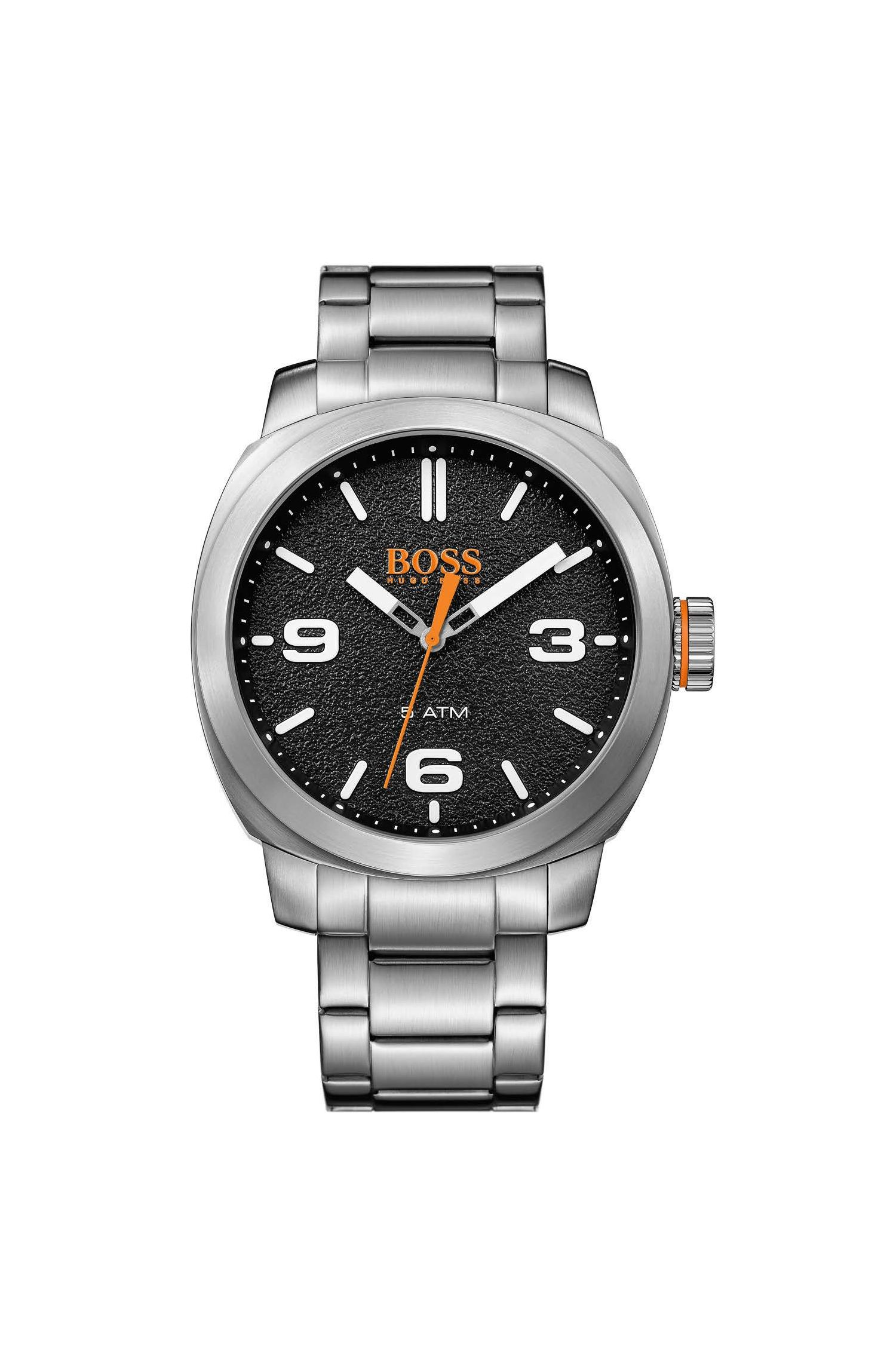 Stainless-steel watch with textured black dial