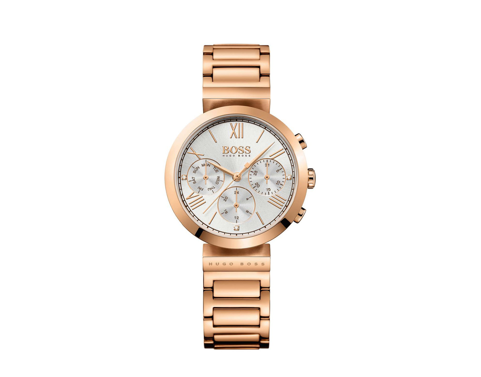 Three-hand watch in rose-gold-plated stainless steel, Gold