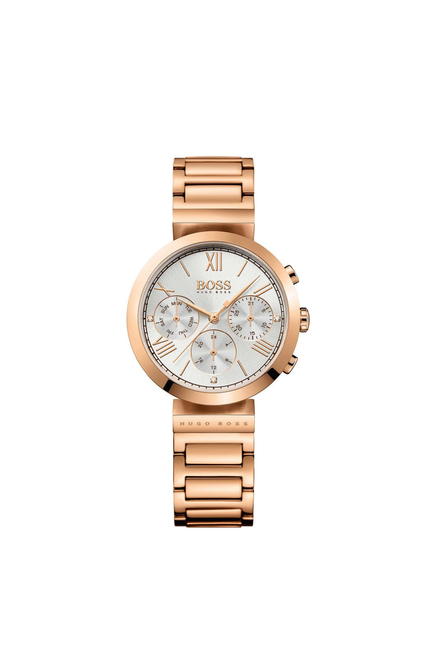 Three-hand watch in rose-gold-plated stainless steel