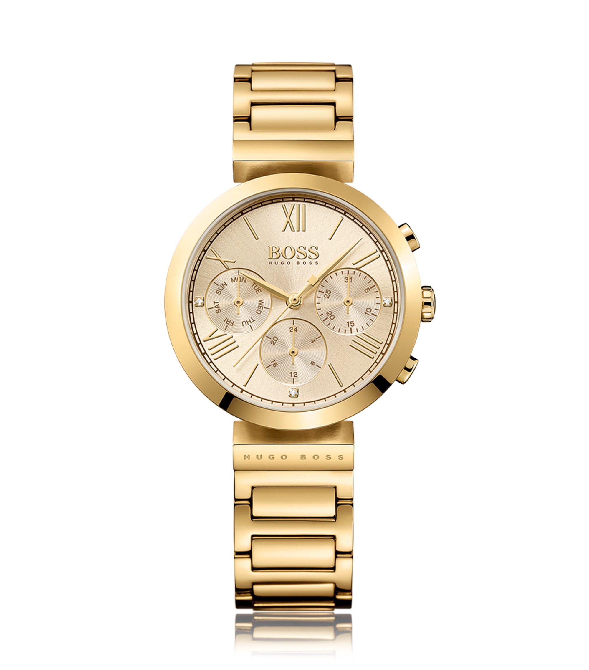 Uhr aus Edelstahl mit Totalisatoren und Gliederarmband, Gold