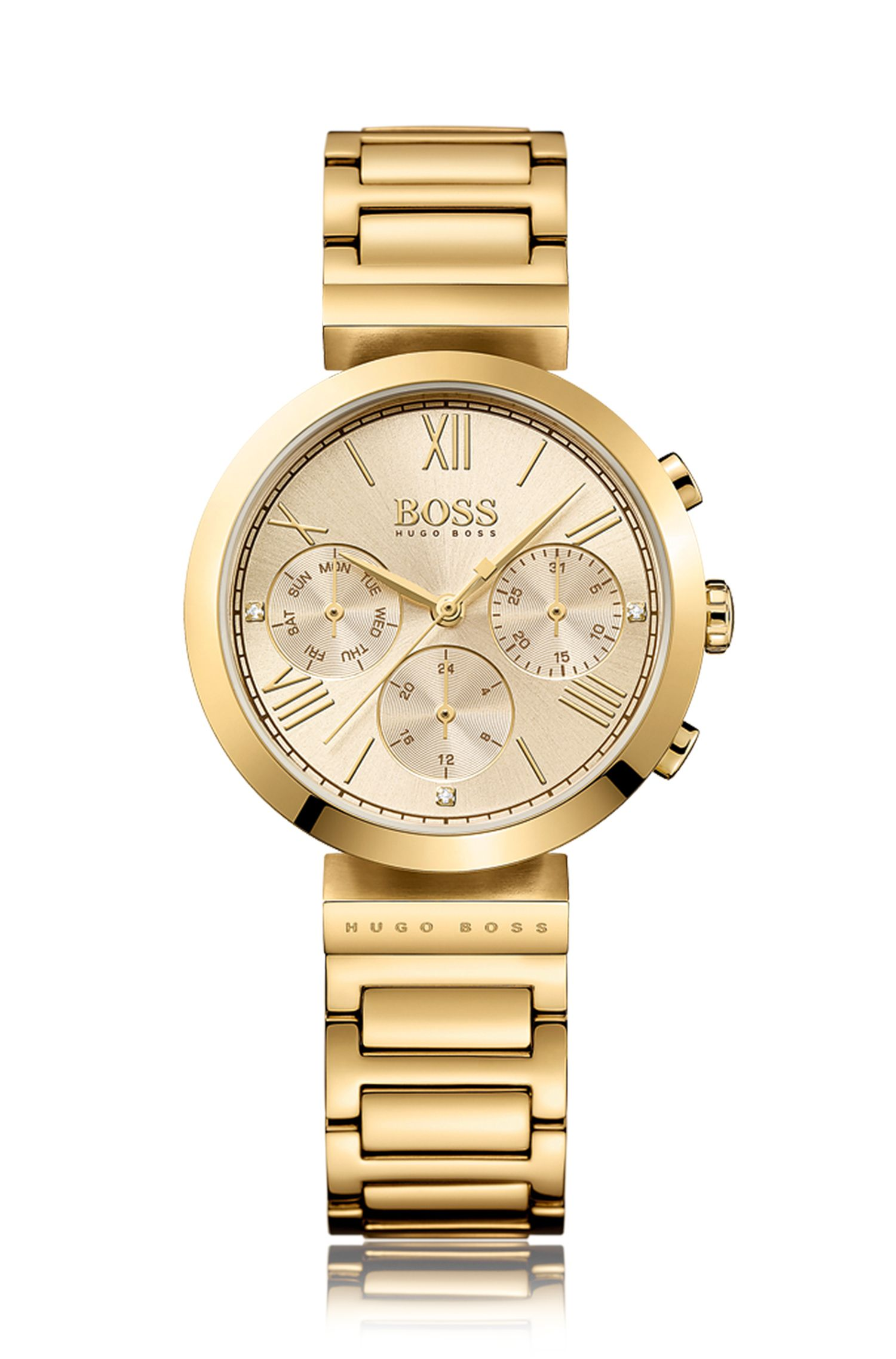 Multi-eye watch in yellow-gold stainless steel with linked bracelet